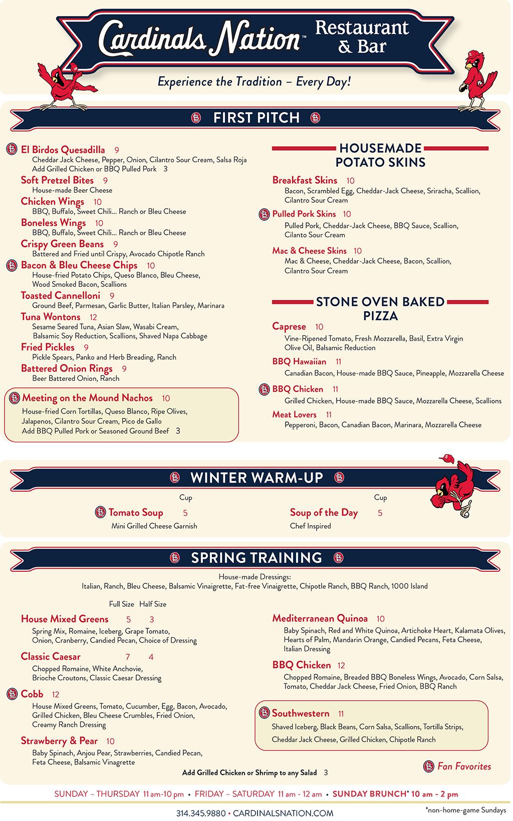 cardinals nation restaurant bar menu